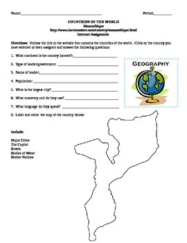 Geography/Map Mozambique Internet Assignment Middle or High School