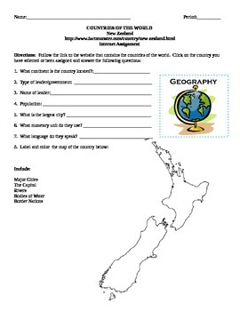 Geography/Map New Zealand Internet Assignment Middle or Hi