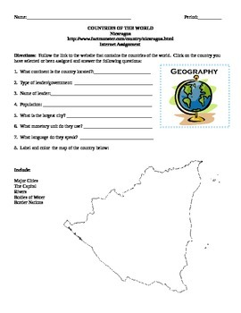 Geography/Map Nicaragua Internet Assignment Middle or High School