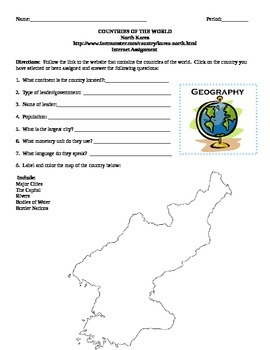 Geography/Map North Korea Internet Assignment Middle or High School