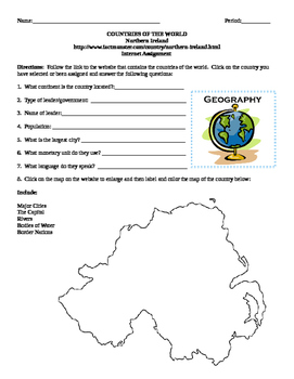 Geography/Map Northern Ireland Internet Assignment Middle or High School