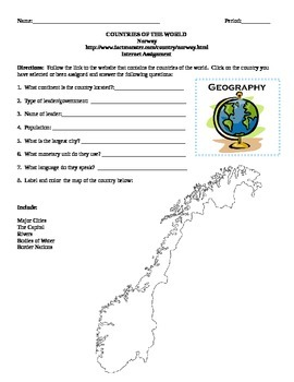 Geography/Map Norway Internet Assignment Middle or High School