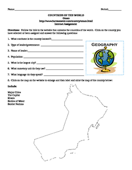 Geography/Map Oman Internet Assignment Middle or High School