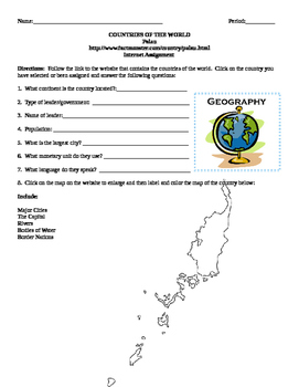 Geography/Map Palau Internet Assignment Middle or High School