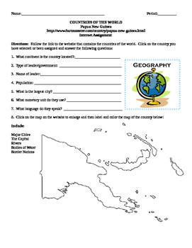 Geography/Map Papa New Guinea Internet Assignment Middle or High School
