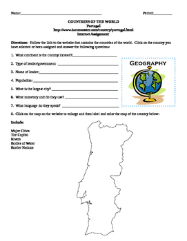 Geography/Map Portugal Internet Assignment Middle or High School
