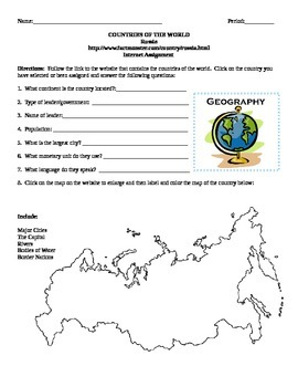 Geography/Map Russia Internet Assignment Middle or High School