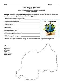 Geography/Map Rwanda Internet Assignment Middle or High School