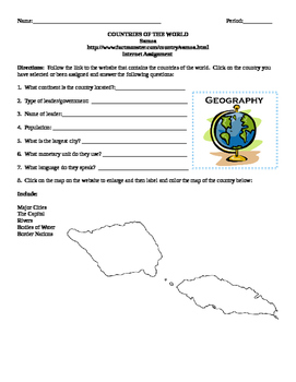 Geography/Map Samoa Internet Assignment Middle or High School