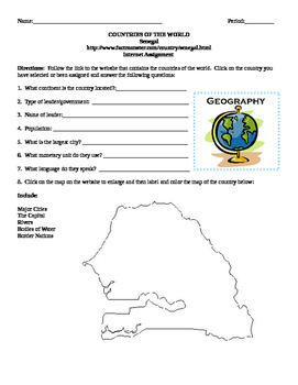 Geography/Map Senegal Internet Assignment Middle or High School
