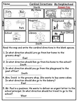 Geography Map Skill Cardinal Directions Worksheets By Mzat TpT - Cardinals points map us