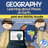 Geography Map Skills Unit Lapbook Print & Digital Distance Learning Bundle