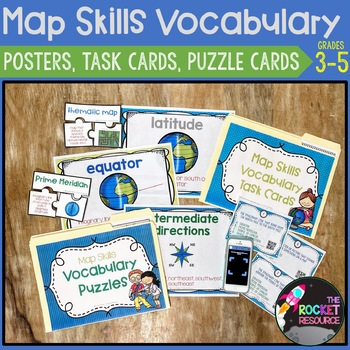 Geography/ Map Skills vocabulary posters and QR-code Task Cards