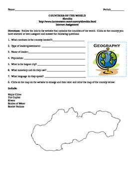 Geography/Map Slovakia Internet Assignment Middle or High School
