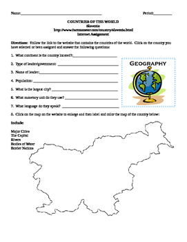 Geography/Map Slovenia Internet Assignment Middle or High School
