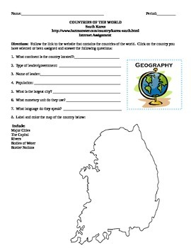 Geography/Map South Korea Internet Assignment Middle or High School