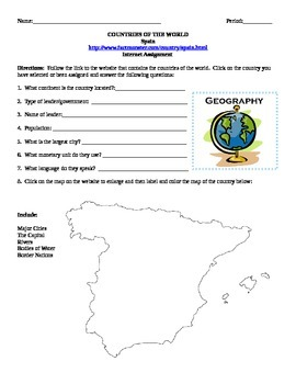Geography/Map Spain Internet Assignment Middle or High School