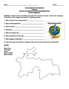 Geography/Map Tajikistan Internet Assignment Middle or High School