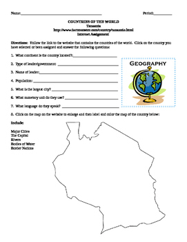 Geography/Map Tanzania Internet Assignment Middle or High School