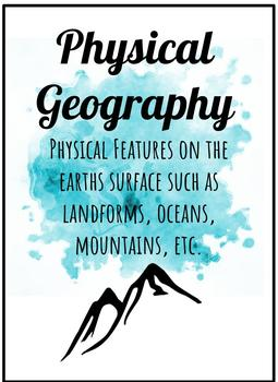 WATERCOLOR Geography Poster BUNDLE Map Term Posters and GRAPES of geography