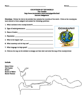 Geography/Map The Gambia Internet Assignment Middle or High School