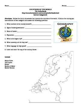 Geography/Map The Netherlands Internet Assignment Middle or High School