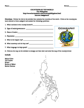 Geography/Map The Philippines Internet Assignment Middle or High School