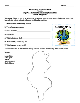 Geography/Map Tunisia Internet Assignment Middle or High School