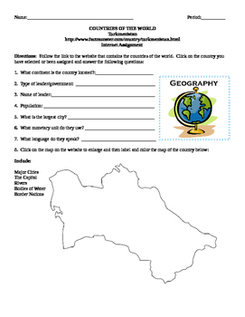 Geography/Map Turkmenistan Internet Assignment Middle or H