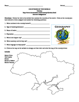 Geography/Map Ukraine Internet Assignment Middle or High School
