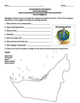 Geography/Map United Arab Emirates Internet Assignment Middle or High School