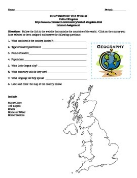 Geography/Map United Kingdom Internet Assignment Middle or High School