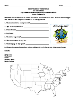 Geography/Map United States Internet Assignment Middle or High School