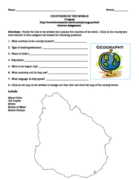 Geography/Map Uruguay Internet Assignment Middle or High School