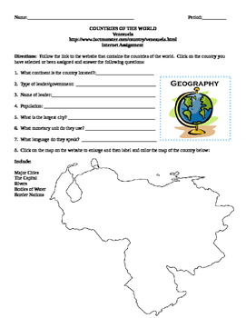 Geography/Map Venezuela Internet Assignment Middle or High School
