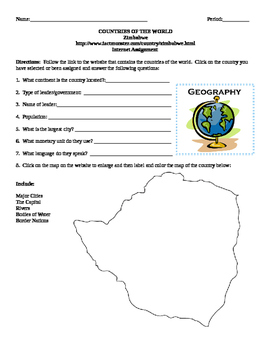 Geography/Map Zimbabwe Internet Assignment Middle or High School