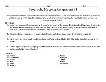 Geography Mapping Assignment #1 of 10 (ENLIGHTENMENT in EUROPE)
