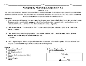 Geography Mapping Assignment #2 of 10 (EUROPE in 1812)