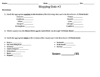 Geography Mapping Quiz/Assessment #3 (Europe in the 19th Century)