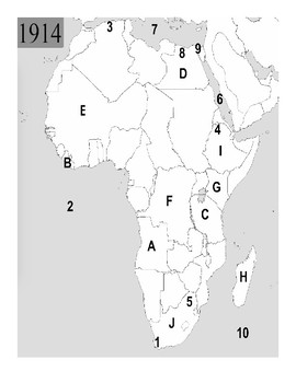 Geography Mapping Quiz/Assessment #4 (Imperialism in Africa to 1914)