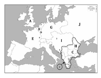 Geography Mapping Quiz/Assessment #5 (Europe during WWI)