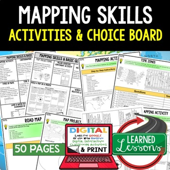 Geography Mapping Skills Activities, Choice Board, Print & Digital, Google