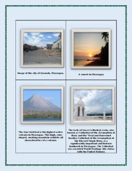 Geography Maps, Flag, Assessment on Nicaragua - Map Skills and Data Analysis