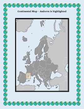 Geography Maps, Flag, Data, Assessment on Andorra  - Map Skills Data Analysis