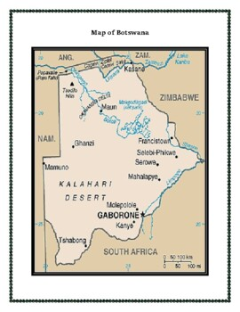 Botswana Geography Maps, Flag, Data, Assessment - Map Skills Data Analysis