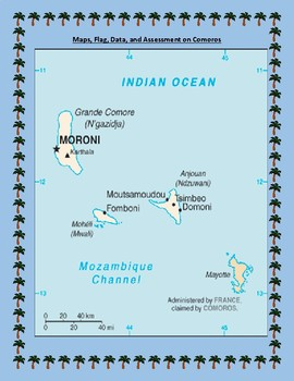 Geography Maps, Flag, Data, Assessment on Comoros  - Map Skills Data Analysis