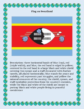 Geography Maps, Flag, Data, Assessment on Swaziland - Map Skills Data Analysis