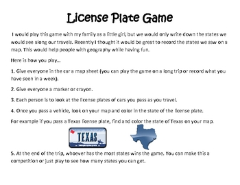 Geography: Math: United States Plates Game
