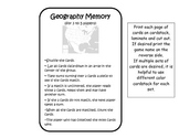 Geography Memory Card Game