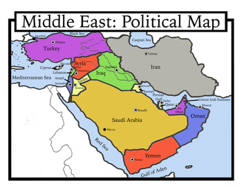 Blank Geography: Middle East Maps: Students Color by Shoestring Hill